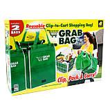 Сумка для покупок в супермаркете с креплениями Grab Bag 2 шт., фото 6