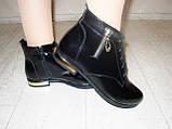 Ботинки женские черные натуральная кожа Д494, фото 5
