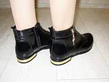Ботинки женские черные натуральная кожа Д494, фото 6