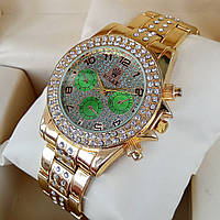 Классические женские кварцевые наручные часы Rolex золотого цвет со стразами, зеленые дополнительные циферблат