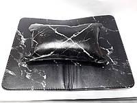 Подлокотник для маникюра с ковриком (черный мрамор)
