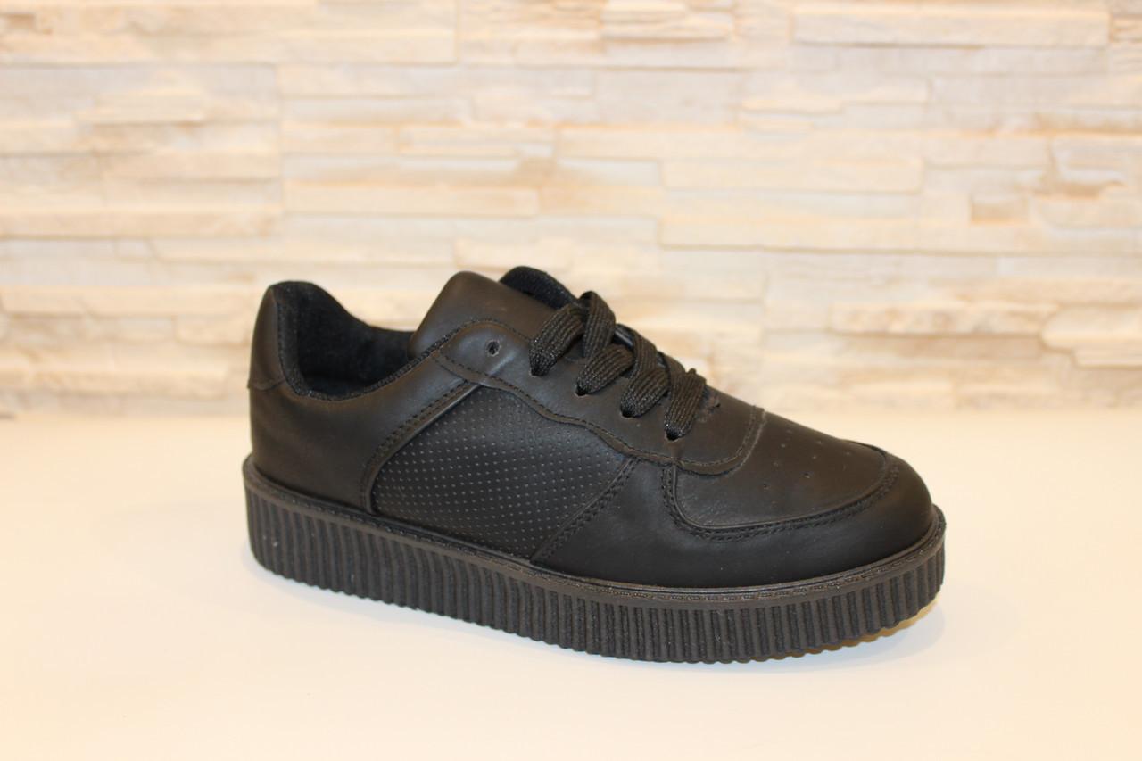 Слипоны черные женские на шнурках Т673