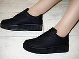 Слипоны черные женские на шнурках Т673, фото 6