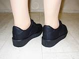 Слипоны черные женские на шнурках Т673, фото 9