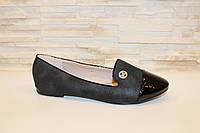 Балетки черные женские с лаковым носком Т681