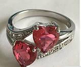 Кільце, покрите сріблом з рожевими кристалами код 975, фото 2
