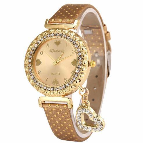 Наручные женские часы c золотистым ремешком код 246