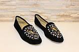 Туфли женские черные с камнями Т756, фото 3