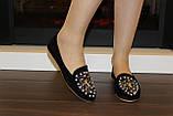 Туфли женские черные с камнями Т756, фото 8