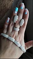 Комплект Брюлик  из серебра 925 пробы с цирконием ( серьги + кольцо + браслет) с золотыми вставками с