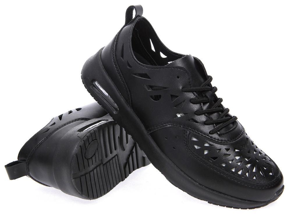 Кроссовки черные летние Т792