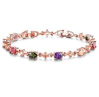 Позолоченный браслет с цветными кристаллами код 1169