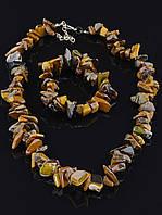 Комплект Тигровый глаз бусы и браслет код 1189
