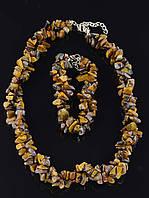 Комплект Тигровый глаз бусы и браслет код 1190