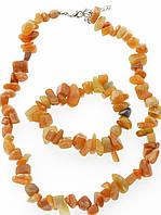 Комплект Яшма бусы и браслет код 1192