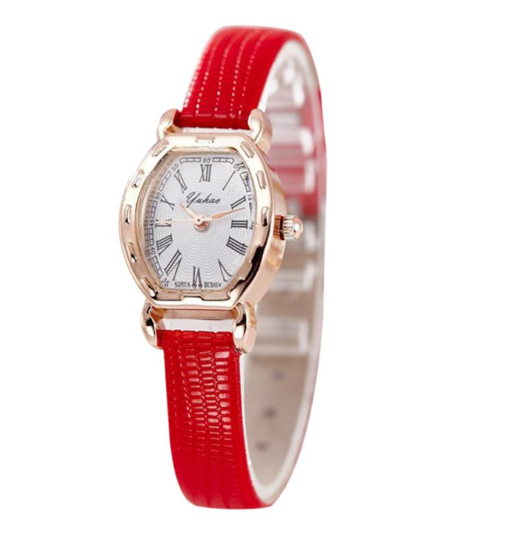 Наручные часы женские с красным ремешком код 291