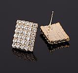 Сережки зі стразами золотисті код 1227, фото 3