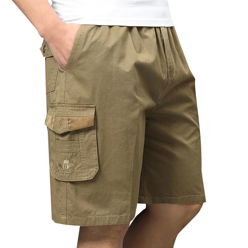 МужскоелетоБольшойразмерLooseДоставка Шорты Повседневный хлопок Multi Pocket Эластичные шорты Брюки - 1TopShop