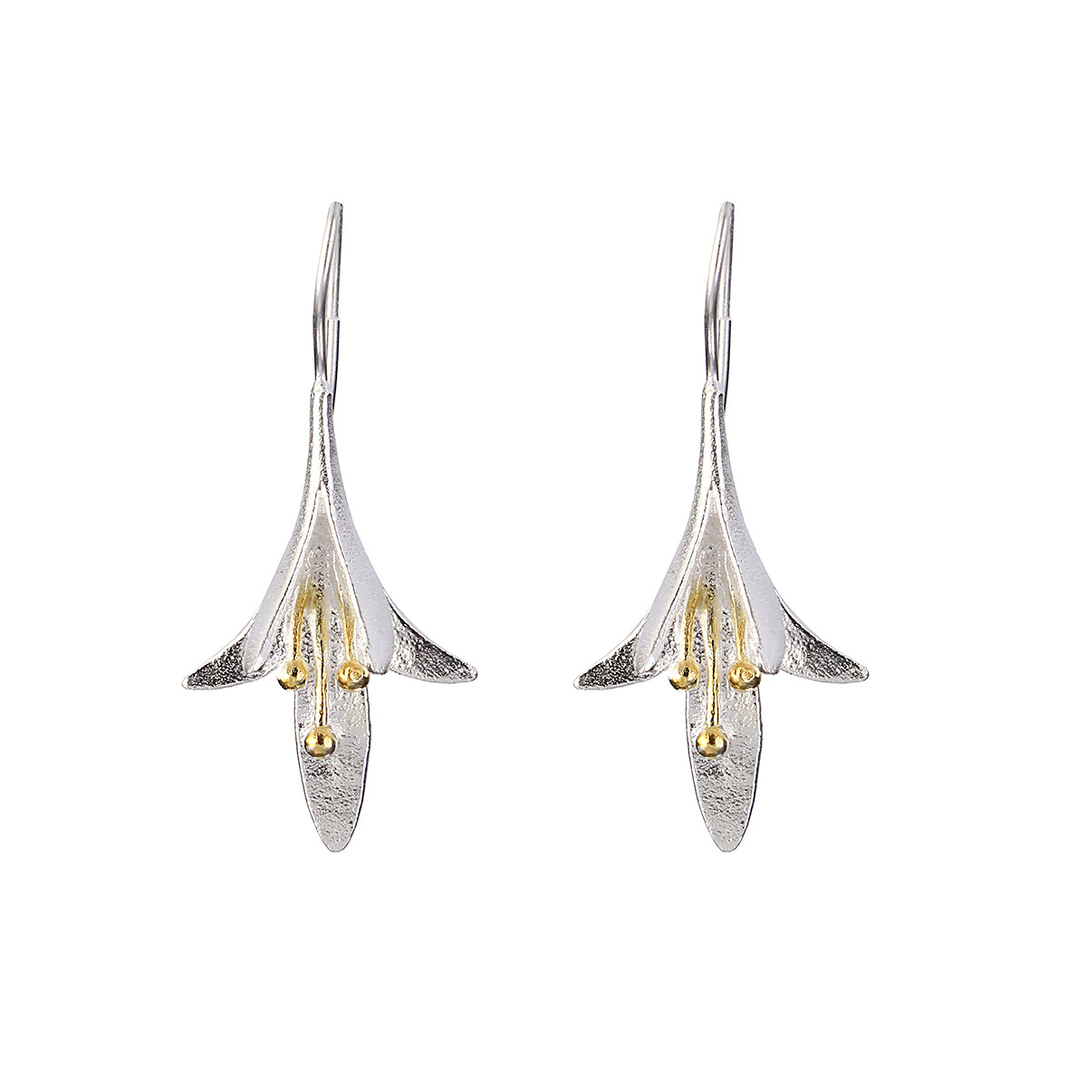 Модный S925 Серебряный Уши Капля Нежный цветок магнолии Серьги Подарок для нее Женское - 1TopShop