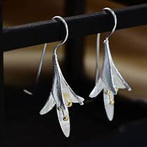 Модный S925 Серебряный Уши Капля Нежный цветок магнолии Серьги Подарок для нее Женское - 1TopShop, фото 3