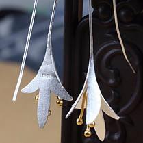 Модный S925 Серебряный Уши Капля Нежный цветок магнолии Серьги Подарок для нее Женское - 1TopShop, фото 2
