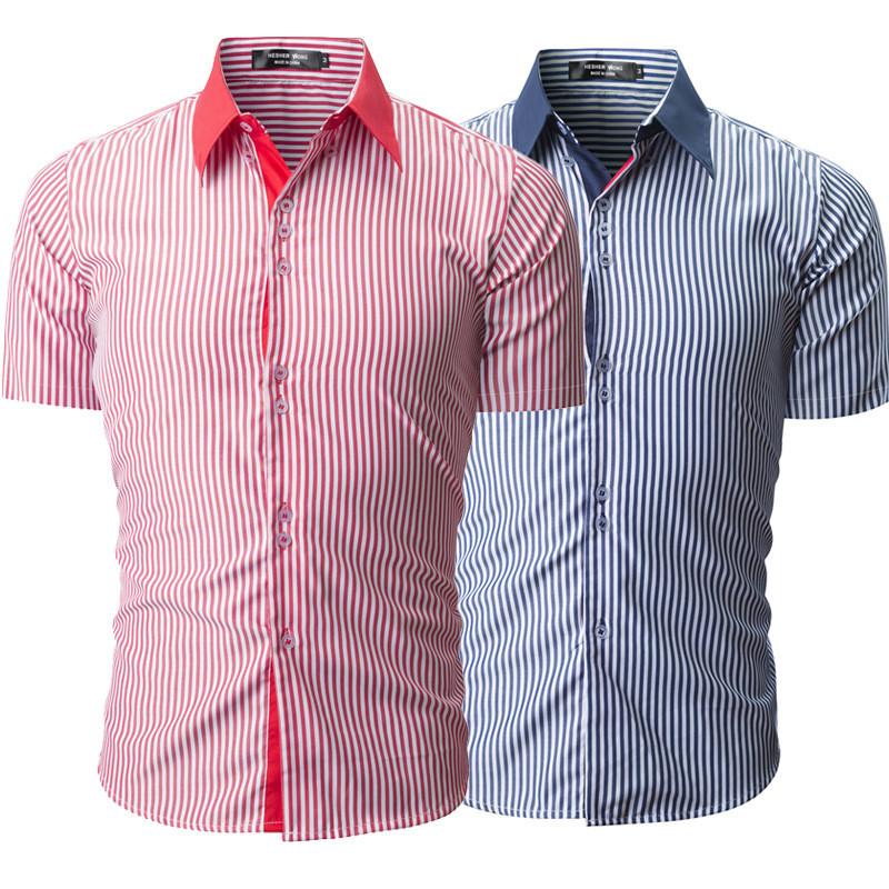 МужскаямодаВертикальнаяполосатаяпечатьПовседневная летняя одежда с короткими рукавами - 1TopShop