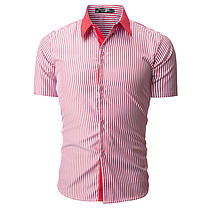 МужскаямодаВертикальнаяполосатаяпечатьПовседневная летняя одежда с короткими рукавами - 1TopShop, фото 2