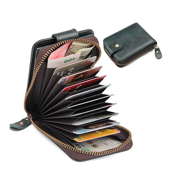 RFIDНатуральнаяКожа9Кошелёкдля карточек Винтаж Soft Монета Кошелек - 1TopShop