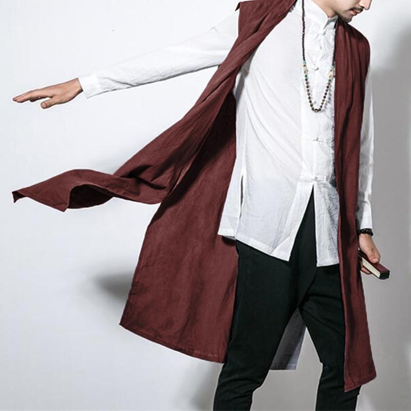 INCERUN Мужской китайский стиль Винтаж Хлопок Loose Fall кардиган без рукавов пальто - 1TopShop