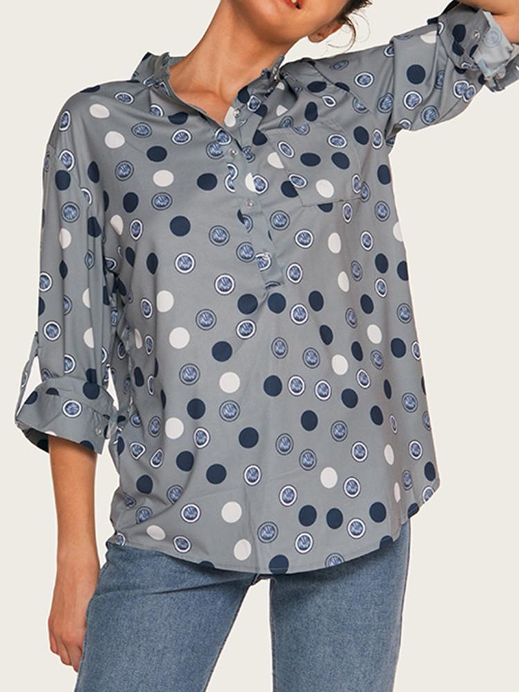 Женское Элегантные рубашки с длинными рукавами Polka Dot - 1TopShop