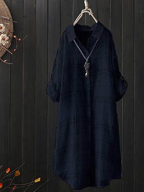 Вскользь Женское См. Через плед кнопки регулируемый рукав с длинным рукавом блузка - 1TopShop, фото 2