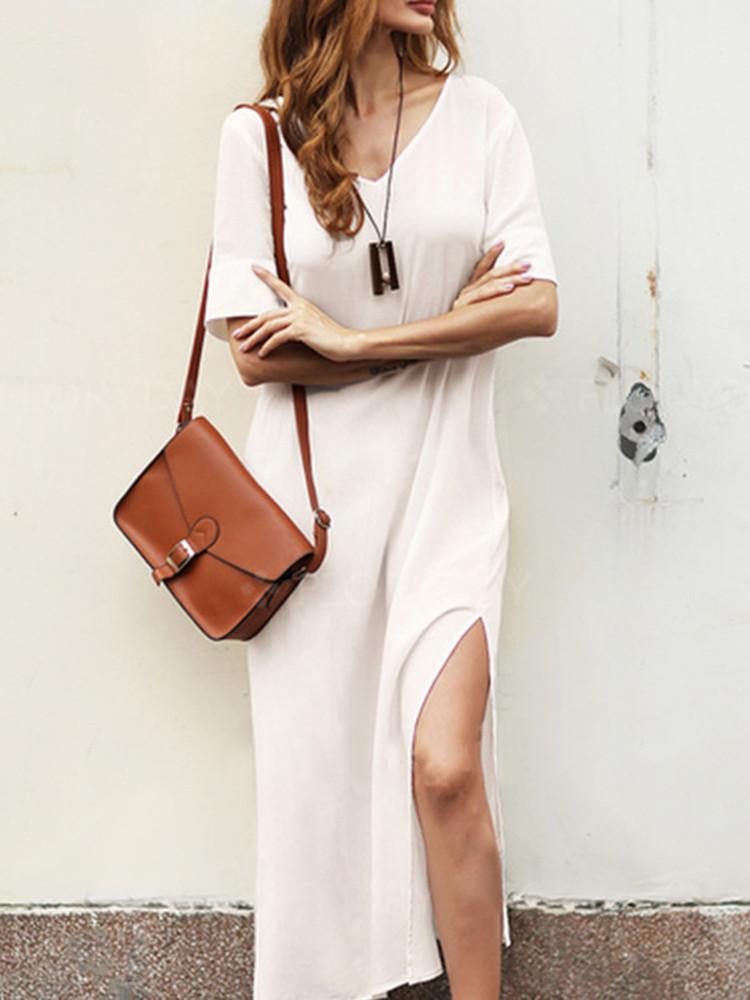 Plus Размер V-образным вырезом Разделенный сплошной цвет Винтаж Платье - 1TopShop
