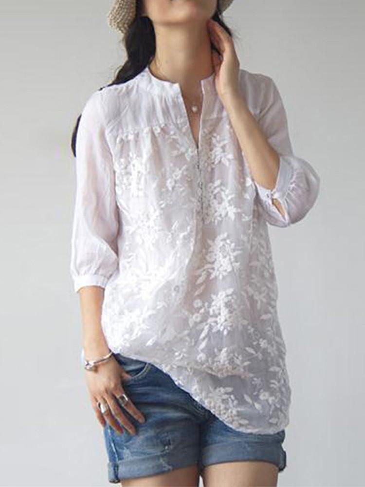 Женское Цветочная вышивка V-образным вырезом 3/4 Sleeve Blouse - 1TopShop