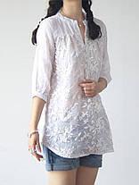 Женское Цветочная вышивка V-образным вырезом 3/4 Sleeve Blouse - 1TopShop, фото 3