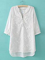 Женское Цветочная вышивка V-образным вырезом 3/4 Sleeve Blouse - 1TopShop, фото 2
