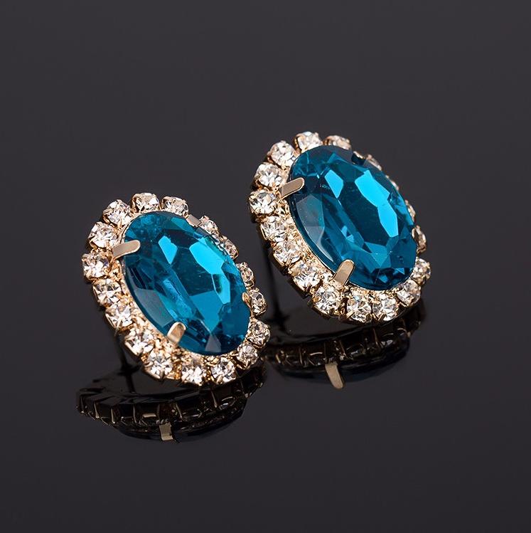 Серьги с синими и белыми камнями код 1260