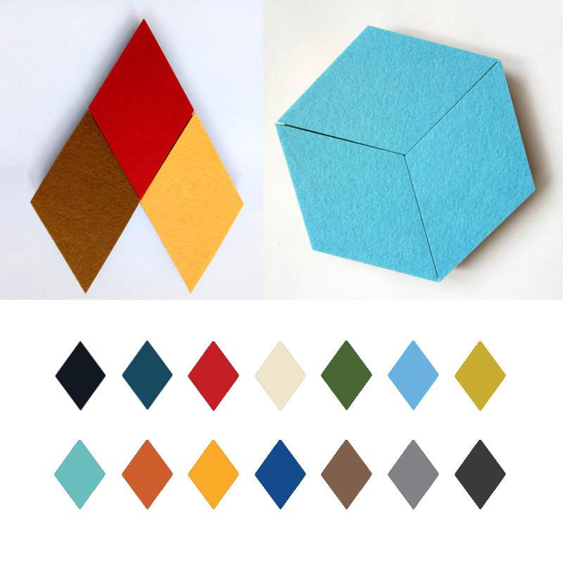 Хонана DX-135 3PCS Творческий Красочные Rhombus Wool Войлок Многофункциональный стикер стены Смарт сбор платы - 1TopShop