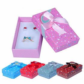 Разноцветная лента с бантом Сердце Квадратная упаковка для ювелирных изделий Коробка Чехол - 1TopShop
