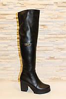 Сапоги ботфорты женские зимние черные на каблуке натуральная кожа С617, фото 1