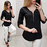 Блузка С V-образным вырезом и змейкой, модель 158, цвет чёрный