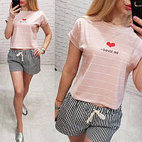 Турция! Стильная женская футболка топ в полоску с сердцем пудра 42-46, фото 1