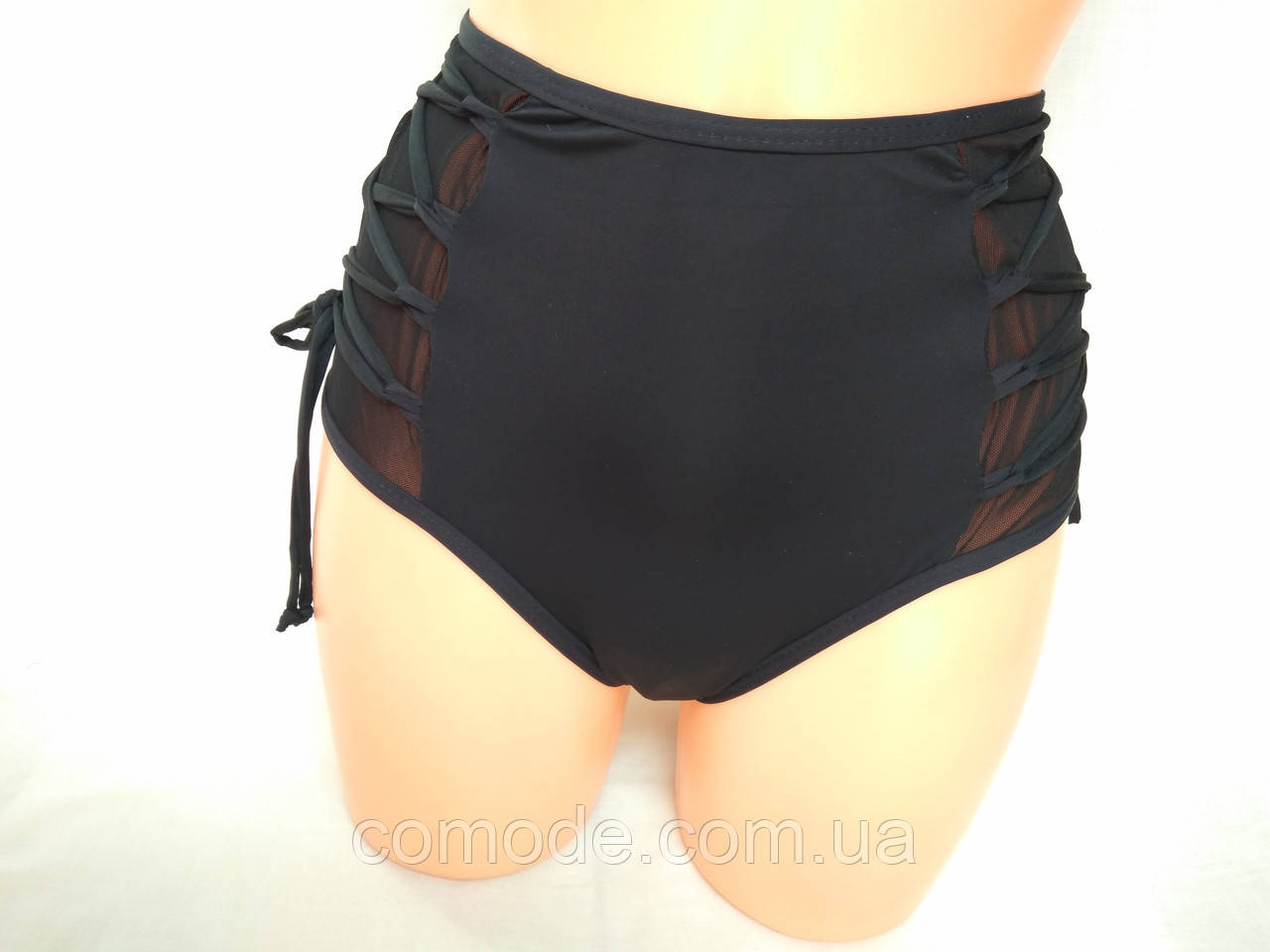 Плавки женские с завышеной талией однотонные черные c сеточкой и шнуровкой