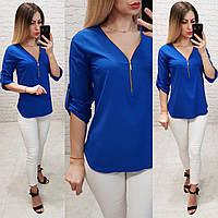Блузка С V-образным вырезом и змейкой, модель 158, цвет электрик, фото 1