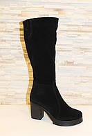 Сапоги женские зимние черные на каблуке натуральная замша С661, фото 1