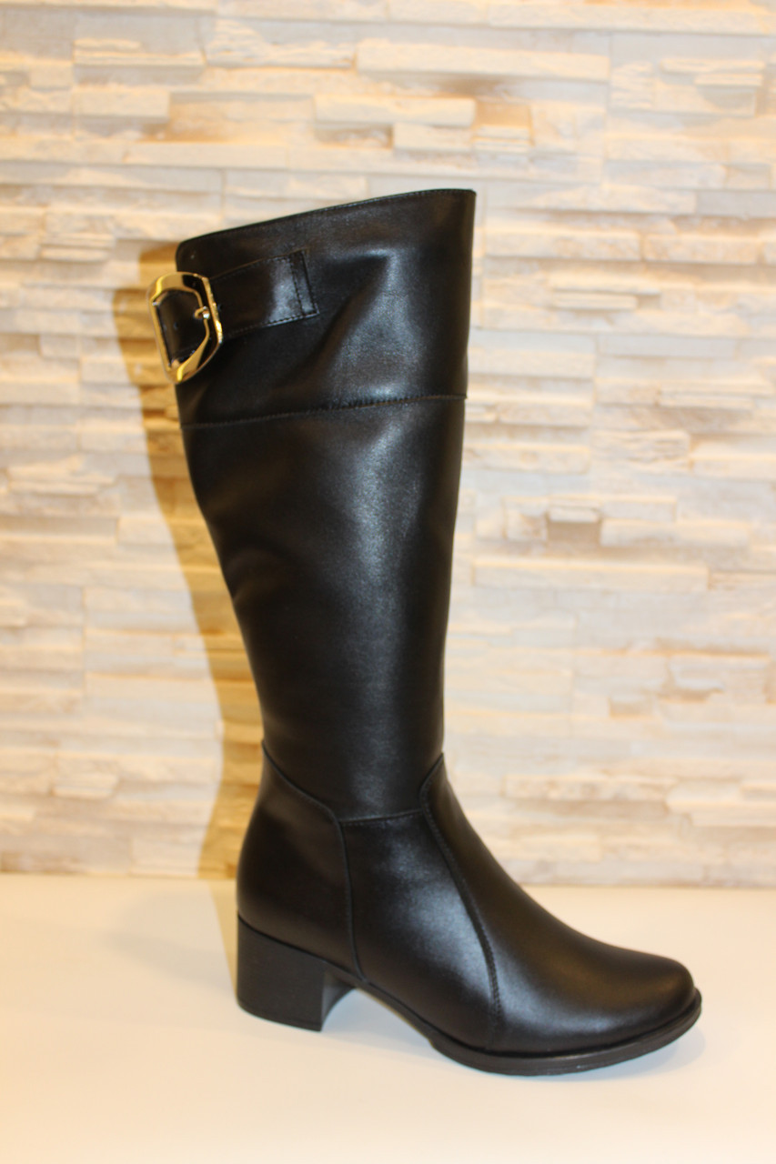 Сапоги женские зимние черные натуральная кожа на каблуке С744