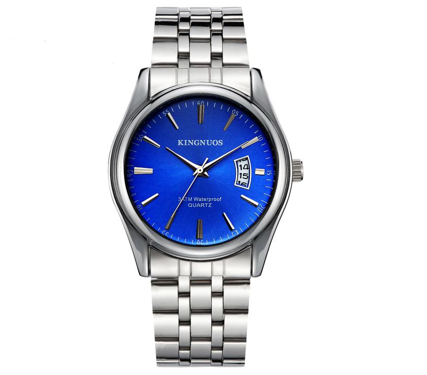 Стильные наручные мужские часы с серебристым ремешком код 349
