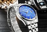 Стильные наручные мужские часы с серебристым ремешком код 349, фото 3