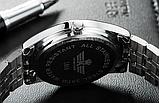 Стильные наручные мужские часы с серебристым ремешком код 349, фото 5
