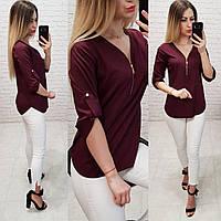 Блузка С V-образным вырезом и змейкой, модель 158, цвет марсала