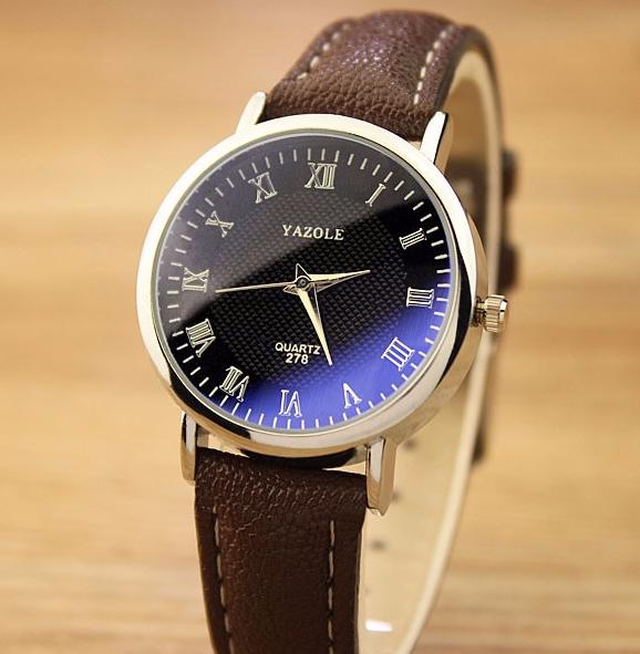 Стильные часы женские с коричневым ремешком код 359